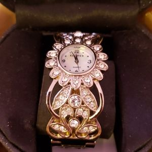 Rhinestone Bangle Bracelet Watch